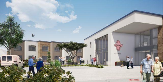 Das Haus St. Martin, wie es zurzeit neu gebaut wird. Fertigstellung ist 2020. Zeichnung: Architekturbüro Maas & Partner